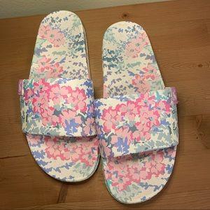 Joules Poolside Sandals, Pink Floral, Sz 7.5 (EU8)